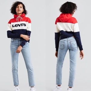 Levi's 501 High Rise Straight Leg Button Fly Jeans